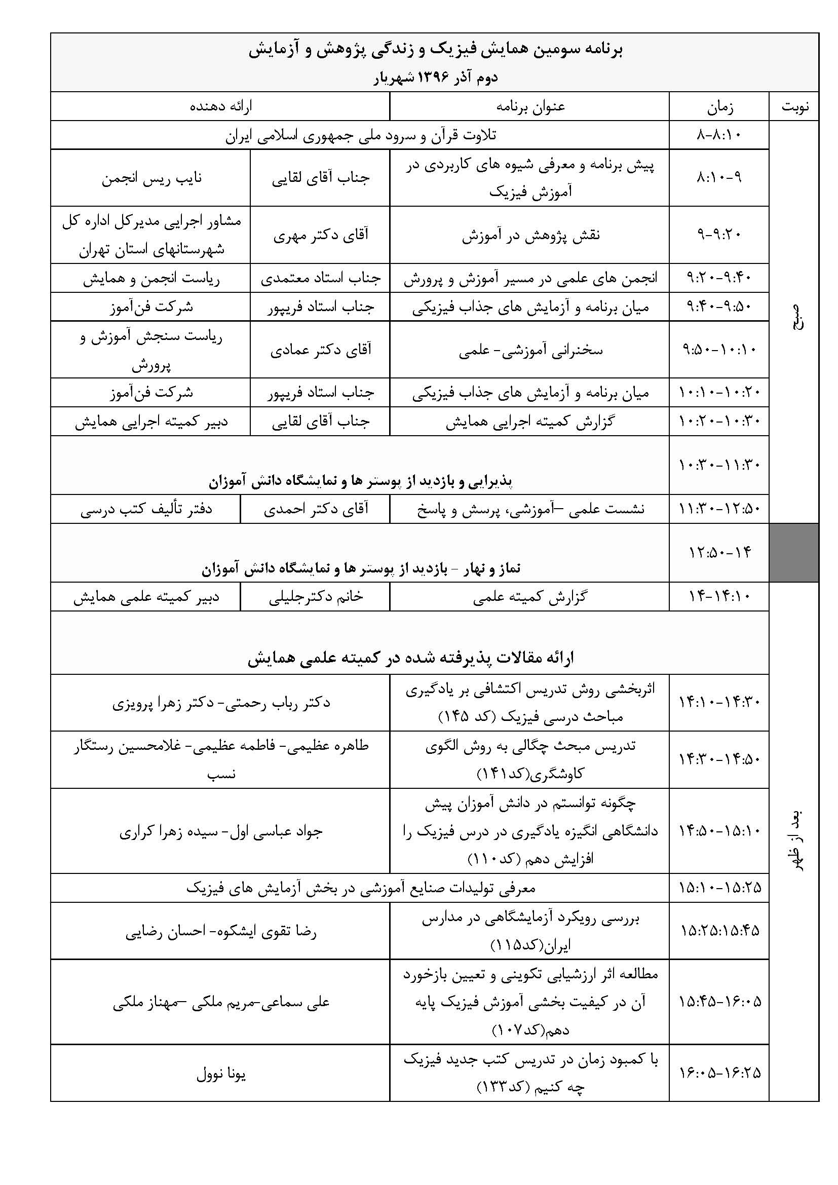 برنامه سومین همایش:برنامه از 8 صبح روز2 آذر 96 در اردوگاه شهید منتظری آغاز و نزدیک ساعت 17 عصر به پایان می رسد